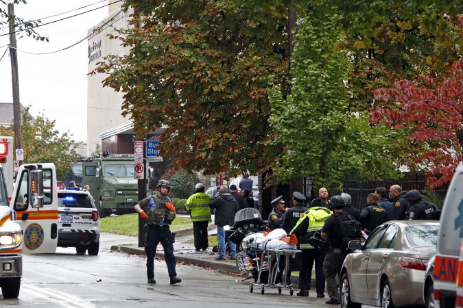 First responders surround the Tree of Life Synagogue where a shooter opened fire Saturday, Oct. 27, 2018. (Gene J. Puskar/AP Photo)
