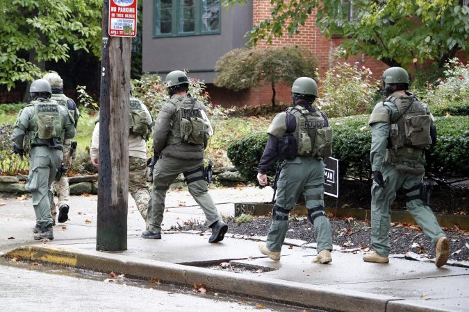 A SWAT team arrives at the Tree of Life Synagogue where a shooter opened fire injuring multiple people, Saturday, Oct. 27, 2018. (Gene J. Puskar/AP Photo)