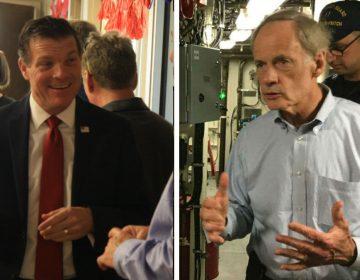 Republican Rob Arlett (left) is challenging three-term U.S. Senator Tom Carper of Delaware. (Mark Eichmann/WHYY)