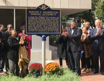 Members of Dutch Burton's family join city leaders in unveiling a historic marker commemorating Burton's fight against discrimination. (Mark Eichmann/WHYY)