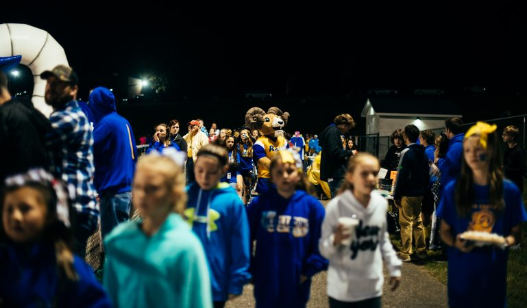 Rudi, the Kennard-Dale High School Ram, in the crowd during the football game. (Dani Fresh for WHYY)