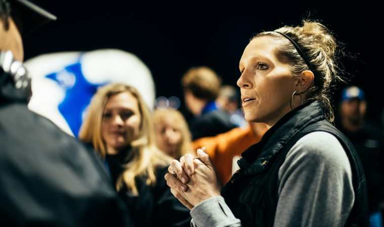 Parent Christina Markel at a Kennard-Dale football game. (Dani Fresh for WHYY)
