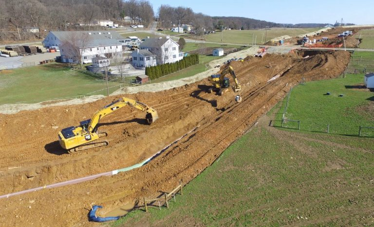 Atlantic Sunrise Pipeline construction in Lancaster County. (March 2018) (Marie Cusick/StateImpact Pennsylvania)