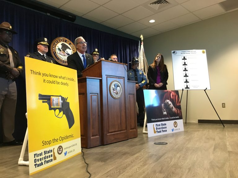 U.S. Attorney for Delaware David Weiss details a new task force led by the DEA to arrest and prosecute those who distribute heroin and fentanyl. (Mark Eichmann/WHYY)