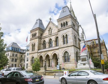 The Blair County Courthouse sits on Allegheny Street in Hollidaysburg, PA. Private funding for the District Attorney Office and local law enforcement has put immense pressure on the county's public defenders. (Min Xian/Keystone Crossroads)