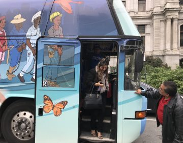 The Journey for Justice bus visits Philadelphia Friday as part of a 50-city journey to raise awareness of the temporary protected status that's in danger of dissolution. (Laura Benshoff/WHYY)