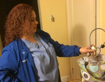 Beth Carroll, of New Castle, Del., has been a registered nurse for 16 years. Today she works at a surgery center with regular hours. But that was not always the case. At other healthcare facilities, she frequently had to work overtime and overnight shifts. She's says that's because of a national shortage of nurses. (Zoe Read/WHYY)