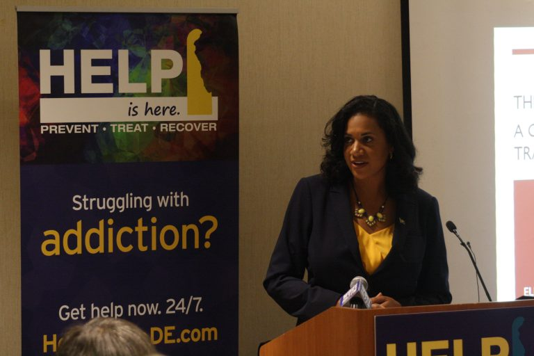 Delaware's Department of Health and Social Services Secretary Kara Odom Walker outlines the state's new effort to connect victims of substance abuse with social services provided by the state. (Mark Eichmann/WHYY)