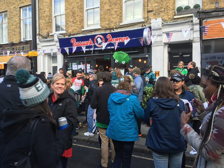 Hundreds of people gathered at Passyunk Avenue, a Philly-themed dive bar in London, for the Eagles matchup against the Jacksonville Jaguars at Wembley Stadium on Sunday, Oct. 28, 2018. (Jim Saksa/WHYY)
