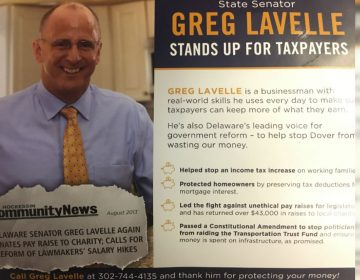 Republican Delaware state Sen. Greg Lavelle says this campaign mailer from First State First PAC is an