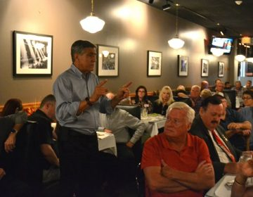 Republican U.S. Rep. Lou Barletta speaks to supporters at Alfredo's Pizza & Restaurant in Scranton, Lackawanna County, Tuesday Oct. 9, 2018. (Brett Sholtis/WITF)