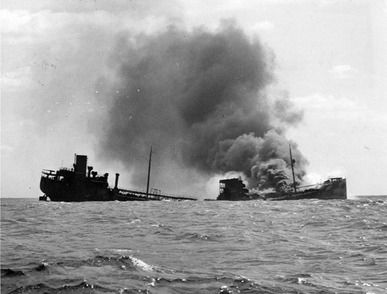 The R. P. Resor was torpedoed on Feb 28, 1942 off the coast of northern New Jersey, with a full load of crude oil. (Photo courtesy of Joseph Bilby)
