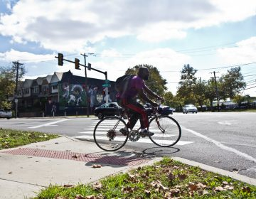 A cyclist tentatively rolls into the street at Belmont and Parkside Avenues. (Kimberly Paynter/WHYY)