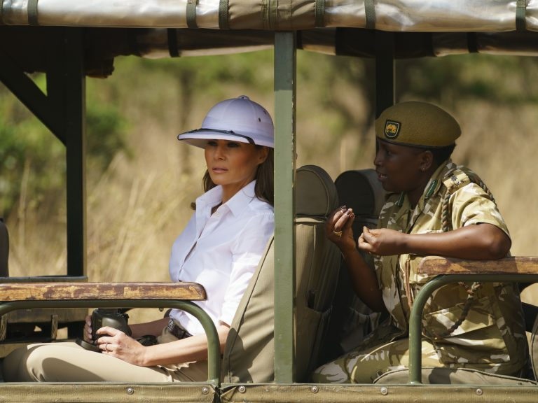 First lady Melania Trump looks out over Nairobi National Park in Nairobi, Kenya. Critics say the pith helmet she's wearing is a symbol of colonialist attitudes. (Carolyn Kaster/AP)