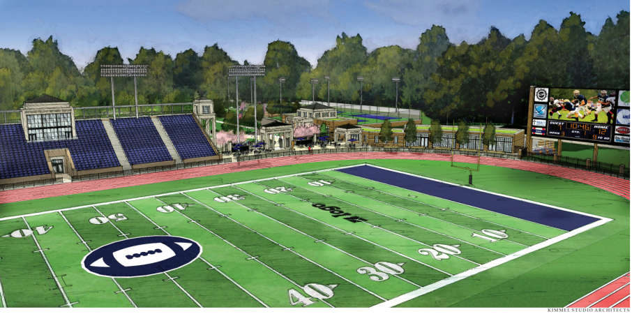An artist's rendering depicts what a renovated Baynard Stadium would look like following $15 million to $20 million in upgrades. (Courtesy of the city of Wilmington)