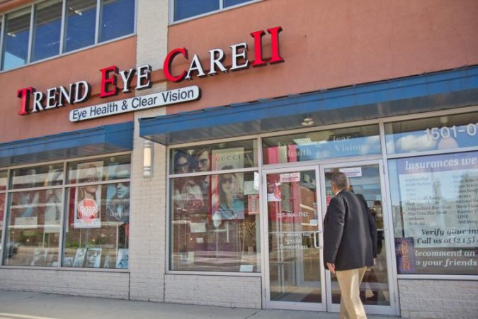Board Chairman Emeritus Wendell Whitlock said the eye care store is the prettiest in Sullivan Progress Plaza (Kimberly Paynter/WHYY)