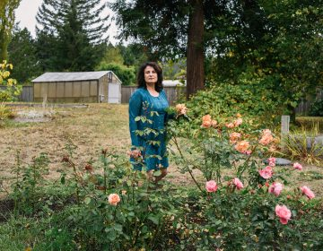 Janet Winston stands in her rose garden in Eureka, Calif. Testing revealed she is allergic to numerous substances, including linalool. Winston still can handle roses, which contain linalool, but she can't wear perfumes and cosmetic products that contain the compound.