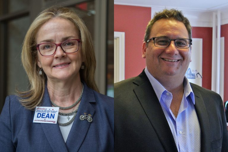 Left: Madeleine Dean is running for the new PA 4th Congressional district. (Emily Cohen for WHYY) Right: Republican candidate for Congress in Pennsylvania's 4th District Dan David. (Emma Lee/WHYY)
