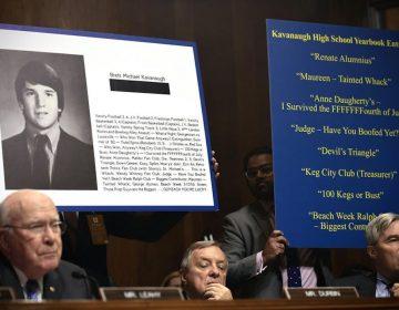 Three Democratic members of the Senate Judiciary Committee listen to testimony in the Brett Kavanaugh assault allegation hearings, Sept. 27, 2018. (Saul Loeb/Pool Image via AP)