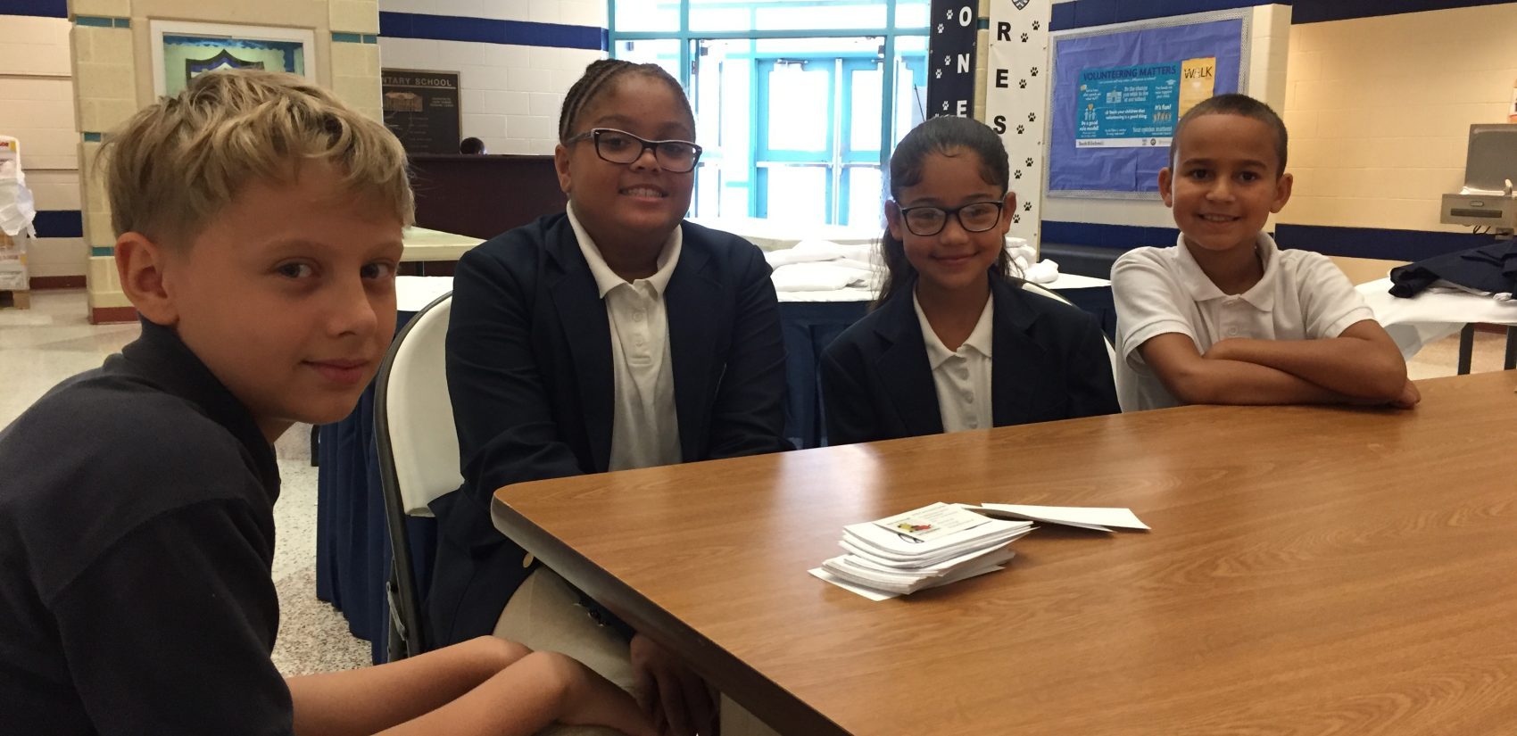 (From L to R) Lincoln Charter School students Samuel Martinez, ShaTayla Bailey, Eliangeliz Echevarria, and Joseph Rosario Rodriguez.(Avi Wolfman-Arent/WHYY)