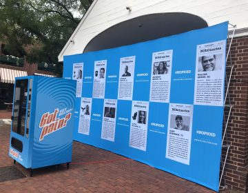 The blue vending machine on display Tuesday, Oct 2, 2018 in Head House Square in Philadelphia. (Nine Feldman/WHYY)