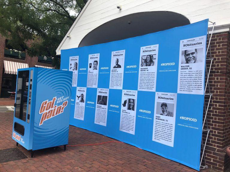 The blue vending machine on display Tuesday, Oct 2, 2018 in Head House Square in Philadelphia. (Nine Feldman/WHYY)