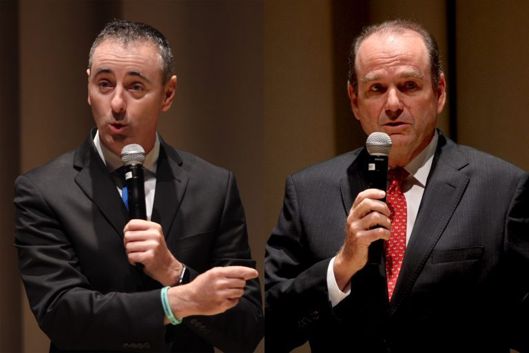 Candidates for Pennsylvania's 1st Congressional District, incumbent Republican Brian Fitzpatrick (left) and Democrat Scott Wallace. (Emma Lee/WHYY)