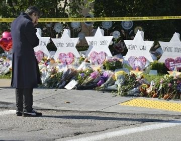 Stars of David memorialize Jewish congregants killed at a synagogue in Pittsburgh on Saturday. (Kyodo News via Getty Images)