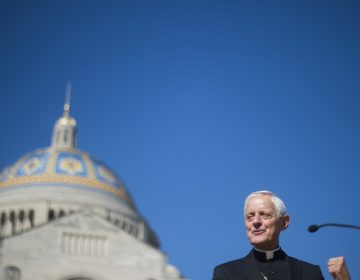 Cardinal Donald Wuerl speaks in front of the Basilica of the National Shrine of the Immaculate Conception in Washington, D.C. in 2015. Wuerl resigned on Friday after accusations of covering up sexual abuse.