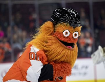 PHILADELPHIA, PA - SEPTEMBER 27: New Flyers mascot Gritty entertains fans during the Preseason game between the New York Rangers and Philadelphia Flyers on September 27, 2018 at Wells Fargo Center in Philadelphia, PA. (Photo by Kyle Ross/Icon Sportswire) (Icon Sportswire via AP Images)
