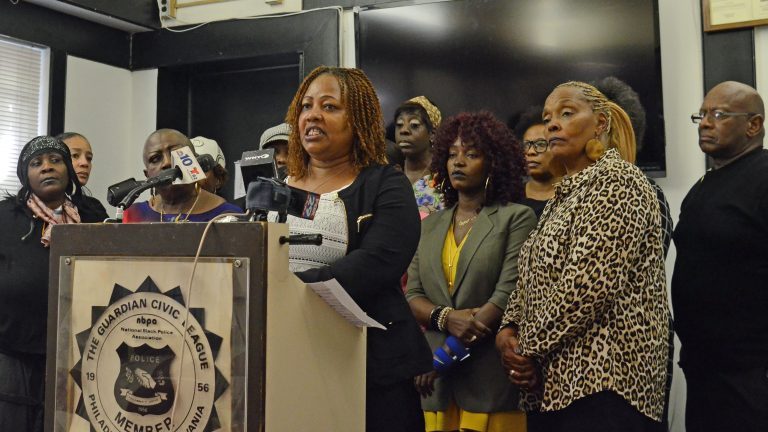 Women alleging workplace harassment in Philadelphia city government speak Wednesday at the Guardian Civic League headquarters. (Tom MacDonald/WHYY)