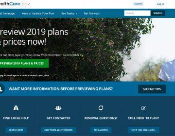 Open enrollment for 2019 health plans begins Nov. 1 on HealthCare.gov and on most state insurance exchanges. (Healthcare.gov via Screenshot by NPR)