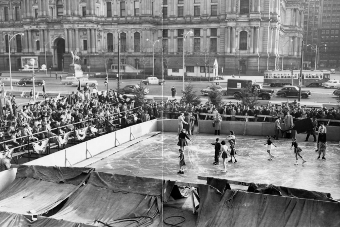 Ice-skating in Reyburn Plaza (date unknown), Evening Bulletin | Special Collections Research Center, Temple University Libraries, Philadelphia, PA