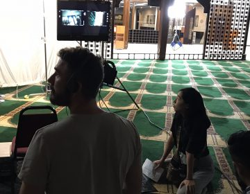 On the set of East of La Brea at the Islamic Center of Southern California. The Web series, which focuses on two Muslim-American women, is one of a new crop of shows featuring Muslim characters. (Leila Fadel/NPR)