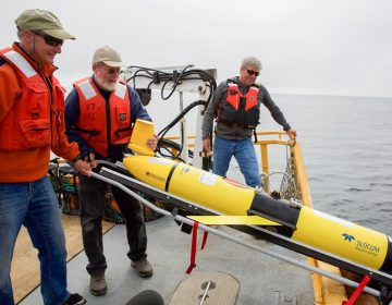 Oregon State University oceanographer Jack Barth deploys a glider that will spend weeks at sea collecting data on everything from dissolved oxygen levels to temperature.