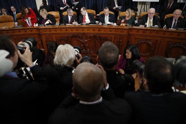 Members of the committee arrive before a House Judiciary Committee markup of the articles of impeachment against President Donald Trump, Thursday, Dec. 12, 2019, on Capitol Hill in Washington. (AP Photo/Andrew Harnik)