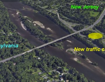 The traffic circle, highlighted as a yellow circle, connects southbound I-295 to Route 29 in New Jersey. This is part of the major overhaul of the intersections in the area as they build a new Scudder Falls bridge. (Google Earth image)
