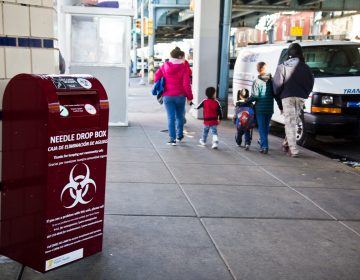 Philadelphia's Department of Public Health installed needle drop boxes at SEPTA stations at three stops off the elevated train in Kensington. (Kimberly Paynter/WHYY)