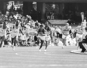 Melvin Pender receives the hand-off in the 4 x 100 meter relay during the 1968 Olympics, for which he won a gold medal. (Courtesy Melvin and Debbie Pender)