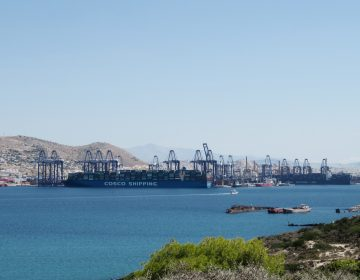 The port of Piraeus has long been a metaphor for Greece, going back to when ancient Greek warriors set off to sea battles. Today, a Chinese company holds a controlling stake in the port. (Joanna Kakissis/NPR)
