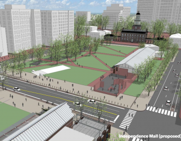 An Old City District rendering shows a redesigned Market Street.  (courtesy of Old City Distric)