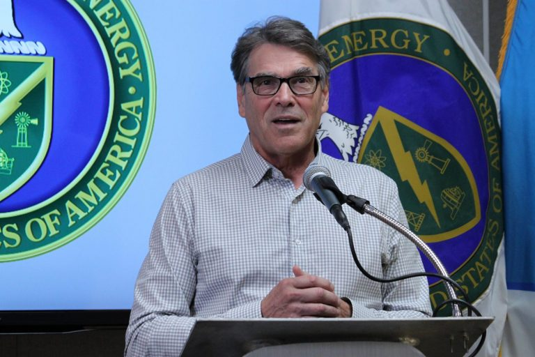 U.S. Energy Secretary Rick Perry answers questions during a media availability following a tour of Sandia National Laboratories in Albuquerque, N.M., on Tuesday, Oct. 9, 2018. (Susan Montoya Bryan/AP Photo)