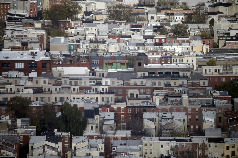 Rowhouses are seen Tuesday, Nov. 24, 2015, in Philadelphia. (Matt Rourke/AP Photo)