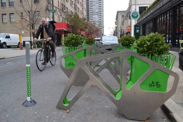 Shake Shack bought and installed a bike corral for its Center City location. (PlanPhilly)