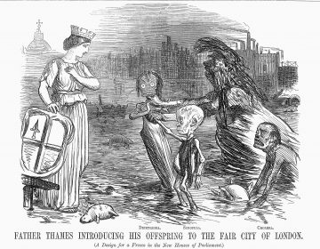 The three sickly beings in this 19th-century drawing represent diphtheria, scrofula (a form of tuberculosis) and cholera. The woman symbolizes the city of London. (Getty Images)