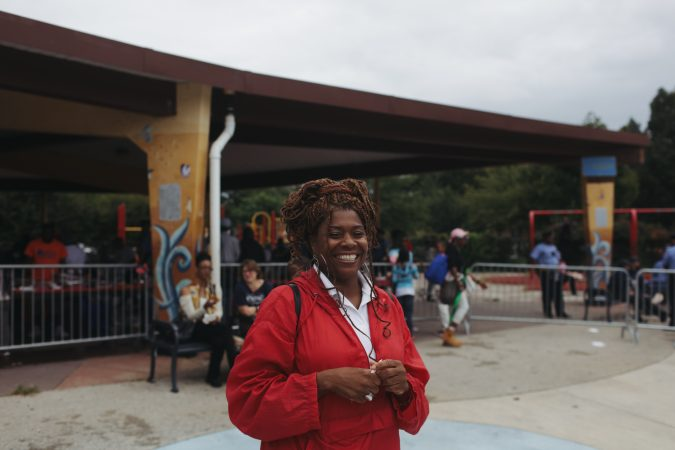 Tonnetta Graham, executive director of Strawberry Mansion CDC, at Strawberry Mansion Day 2018 (Neal Santos for PlanPhilly)