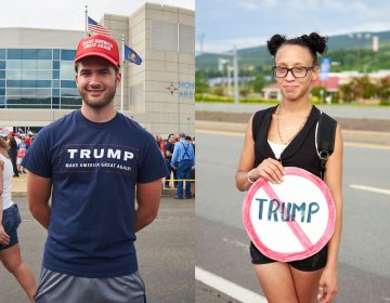 Before President Trump spoke at a rally in Luzerne County in August, local supporters and critics gathered outside the arena. (Natalie Piserchio for Keystone Crossroads)