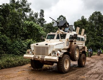 A U.N. military truck patrols on the road linking Mangina to Beni, the current epicenter of the Ebola outbreak in Democratic Republic of the Congo. (John Wessels/Getty Images)