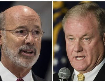 This combination of October 2017 file photos shows Pennsylvania gubernatorial candidates Democrat Gov. Tom Wolf, (left), and Republican Scott Wagner. (Matt Rourke/AP Photo, file)