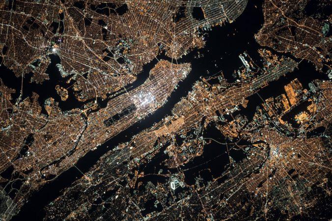 Photo of NYC at night by ISS colleague Oleg Kononenko